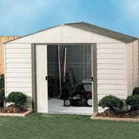 Arrow 10'W x 12'D Vinyl Coated Steel Milford Shed with Foundation Kit, Shelving & Hooks