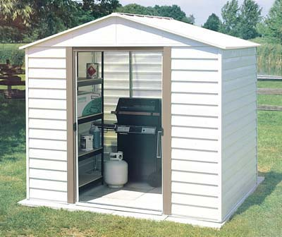 New From Arrow Sheds! Our 10x8 White Dallas Metal Shed Is Perfect For Small  Storage Needs For Your Garden And Outdoor Use. This Shed Comes In An  Eggshell ...