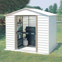 White Dallas 8'W x 6'D Arrow Metal Storage Shed Kit