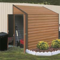 Yardsaver 4'x7' Woodgrain Arrow Small Outdoor Metal Storage Shed Kit