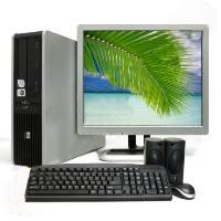 5 HP Dual Core 2 Duo Desktop Computers PC Windows 7 LCD Monintors
