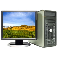 Dell Dual Core 2 Duo 3.0 GHZ Desktop PC 4GB 250GB, WIN 7 Pro, LCD Monitor