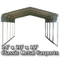 14'W x 20'L x 12'H Classic Metal Carport