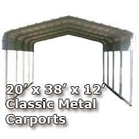 20'W x 38'L x 12'H Classic Metal Carport