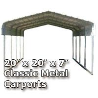 20'W x 20'L x 7'H Classic Metal Carport