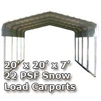 20'W x 20'L x 7'H 22 PSF Snow Load Classic Metal Carport