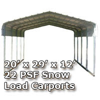 20'W x 29'L x 12'H 22 PSF Snow Load Classic Metal Carport