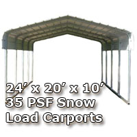 24'W x 20'L x 10'H 35 PSF Snow Load Classic Metal Carport