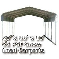20'W x 38'L x 10'H 22 PSF Snow Load Classic Metal Carport