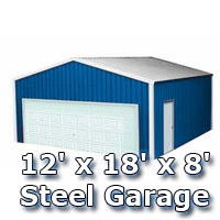 Blue 12' x 18' x 8' Steel Metal Enclosed Building Garage