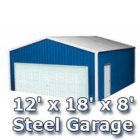 Blue 12' x 18' x 8' Steel Metal Enclosed Building Garage