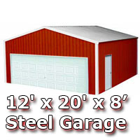 Red 12' x 20' x 8' Steel Metal Enclosed Building Garage