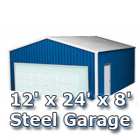 12' x 24' x 8' Steel Metal Enclosed Building Garage