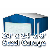 24' x 24' x 8' Steel Metal Enclosed Building Garage