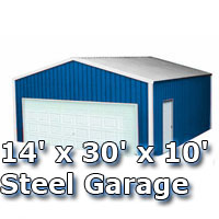 14' x 30' x 10' Steel Metal Enclosed Building Garage