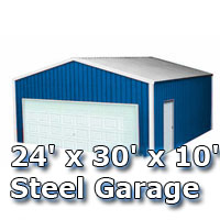 24' x 30' x 10' Steel Metal Enclosed Building Garage