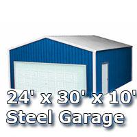 24' x 30' x 10' Steel Metal Enclosed Building Garage