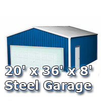 20' x 36' x 8' Steel Metal Enclosed Building Garage