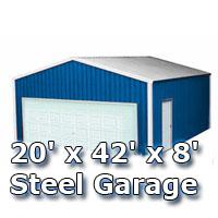20' x 42' x 8' Steel Metal Enclosed Building Garage