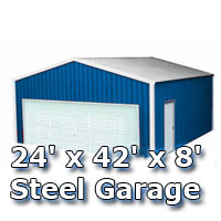 24' x 42' x 8' Steel Metal Enclosed Building Garage