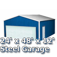24' x 48' x 12' Steel Metal Enclosed Building Garage