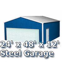 24' x 48' x 12' Steel Metal Enclosed Building Garage