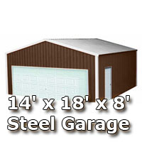 14' x 18' x 8' Steel Metal Enclosed Building Garage