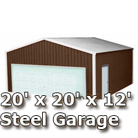 20' x 20' x 12' Steel Metal Enclosed Building Garage