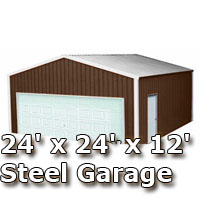 24' x 24' x 12' Steel Metal Enclosed Building Garage