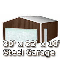 30' x 32' x 10' Steel Metal Enclosed Building Garage
