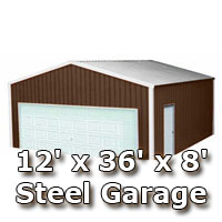 12' x 36' x 8' Steel Metal Enclosed Building Garage