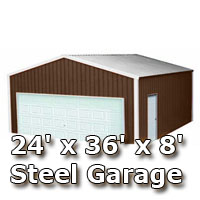 24' x 36' x 8' Steel Metal Enclosed Building Garage