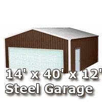 14' x 40' x 12' Steel Metal Enclosed Building Garage