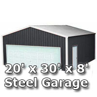 20' x 30' x 8' Steel Metal Enclosed Building Garage