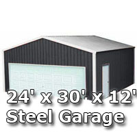 24' x 30' x 12' Steel Metal Enclosed Building Garage