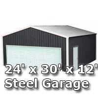 24' x 30' x 12' Steel Metal Enclosed Building Garage