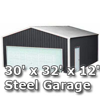 30' x 32' x 12' Steel Metal Enclosed Building Garage