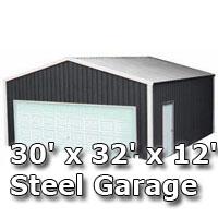 30' x 32' x 12' Steel Metal Enclosed Building Garage