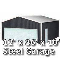 12' x 36' x 10' Steel Metal Enclosed Building Garage