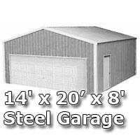 14' x 20' x 8' Steel Metal Enclosed Building Garage