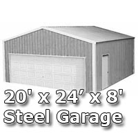 20' x 24' x 8' Steel Metal Enclosed Building Garage