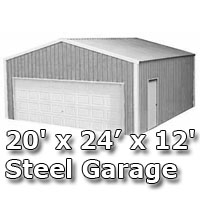 20' x 24' x 12' Steel Metal Enclosed Building Garage