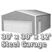 30' x 30' x 12' Steel Metal Enclosed Building Garage