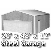 20' x 48' x 12' Steel Metal Enclosed Building Garage