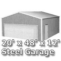 20' x 48' x 12' Steel Metal Enclosed Building Garage