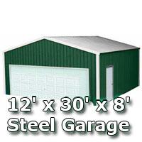 12' x 30' x 8' Steel Metal Enclosed Building Garage