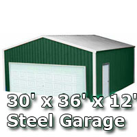 30' x 36' x 12' Steel Metal Enclosed Building Garage