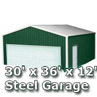 30' x 36' x 12' Steel Metal Enclosed Building Garage