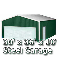 30' x 36' x 10' Steel Metal Enclosed Building Garage