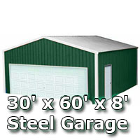 30' x 60' x 8' Steel Metal Enclosed Building Garage
